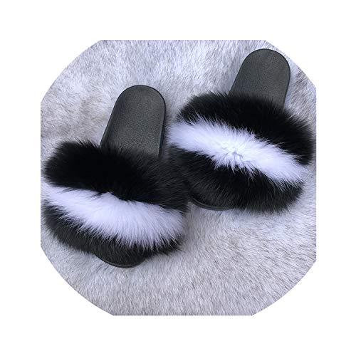 Fox Haar Slippers Vrouwen Bont Wasbeer Sliders Harige Zomer Flats Zoete Dames Schoenen Grote Maat 45 Groothandel