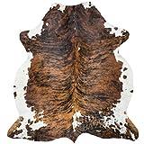 Brown Brindle Cowhide Rug, Premium Quality Natural Leather Hide, Area Rug (6x8ft)