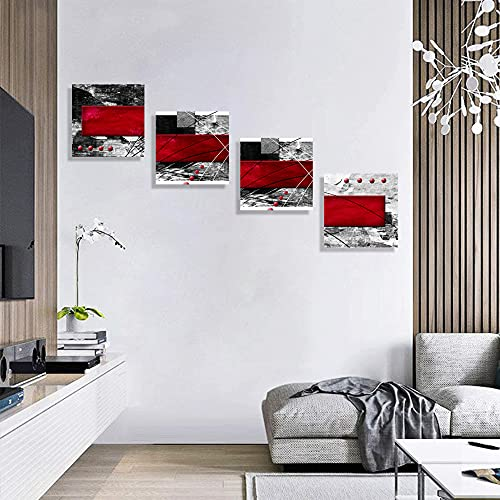 Black Abstract Canvas Wall Art Red Burgundy Wall Decor Livingroom Bedroom Bathroom Posters Picture Prints Framed Ready to Hang(30*30cm*4)