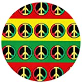 Round Rug Rasta Peace Sign Soft Circular Area Rug Bedroom Durable Circle Carpet Nursery Mat 24 Inch