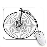 Gaming mouse pad fahrrad schwarz und weiß old velocipede vintage geschichte fahrrad rutschfeste gummi backing computer mousepad für notebooks maus matten