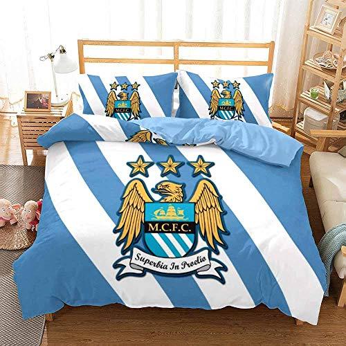 Duvet Cover King Size 230 x 220 cm Soft Microfiber Bedding 3-piece set with 2 Pillowcases 50 x 75 cm with Zipper Closure Manchester City Football Club pattern Duvet Cover Set