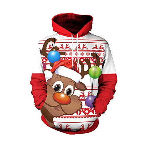 HMMJ Unisex Hoodie Sweatshirt,Autumn Couple Christmas Deer Head Print Long-sleeved Casual Sweater with Pockets SB101-134 (Size : Medium)