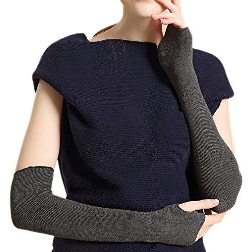 Ele Gens Damen Fingerlos Armwärmer Armstulpen Handschuhe gestrickt Lang Baumwolle (Grau)