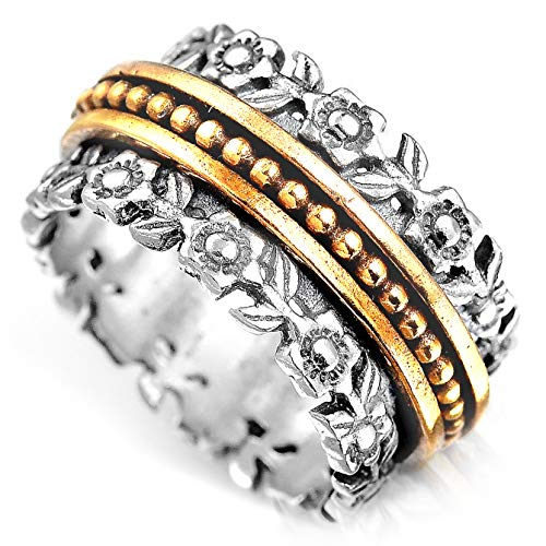 Boho-Magic 925 Sterling Silver Spinner Flowers Design Ring for Women with 3 Brass Fidget Rings Wide Band (7)
