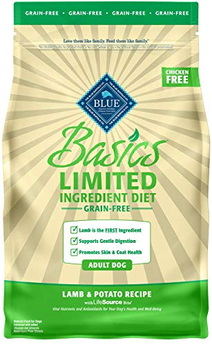 Blue Buffalo Basics Limited Ingredient Diet, Grain Free Natural Adult Dry Dog Food, Lamb & Potato 4-lb
