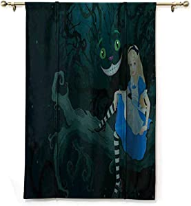 DONEECKL Alice in Wonderland Decorations Polyester Roman Curtain Alice Sitting on Branch with Chescire Cat in Darkness Striped Cartoon Love Breathability W23 xL64 Multi