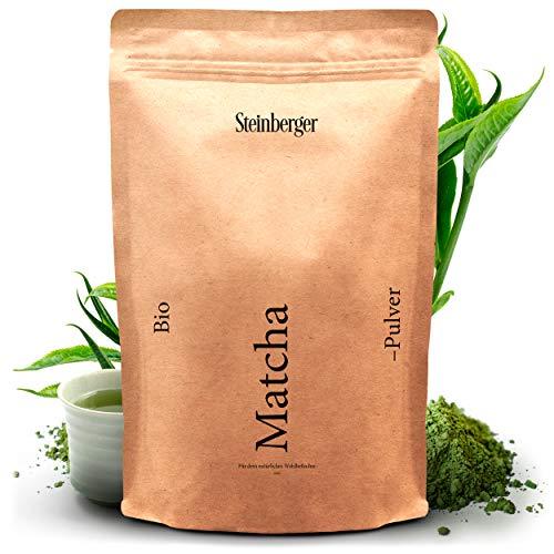 Premium BIO Matcha Tee Pulver von Steinberger | Original japanisches Grüntee Matcha Pulver | 100 g im wiederverschließbaren Aromapack