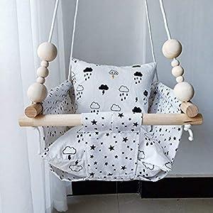 HB.YE - Hamaca para bebé de 100% artesanía, columpio para niños, interior y exterior, regalo de cumpleaños, decoración, (con perlas y cojines), color blanco – pentagrama
