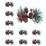 QSDGFH 10 púas artificiales de Navidad de bayas, espray de acebo...