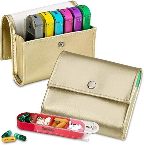Wekelijkse Travel Pill Organizer – (Set van 2) Medicatie Portemonnee Pill Box Herinneringen, Pill Container Dispenser…