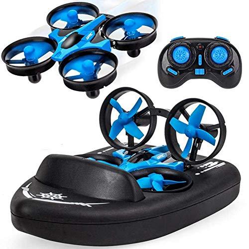 TDOYO 3 En 1 Mini 2.4G Quadcopter, Jjrc H36f RC Drone Control Remoto Modo Coche/Barco/Quadcopter con 360 ° Flips Stunt Modo Sin Cabeza, Aerodeslizador De Simulación para Niños Juguetes Regalos,Blue