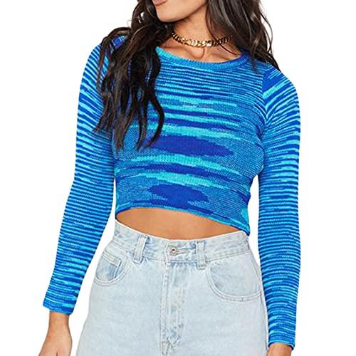 Women Ribbed Knit Tie Dye Long Sleeve Crop Top Y2K Striped Crewneck Sweater Top Slim Fit T-Shirt 90s Aesthetic Knitwear (A-Blue, Medium)