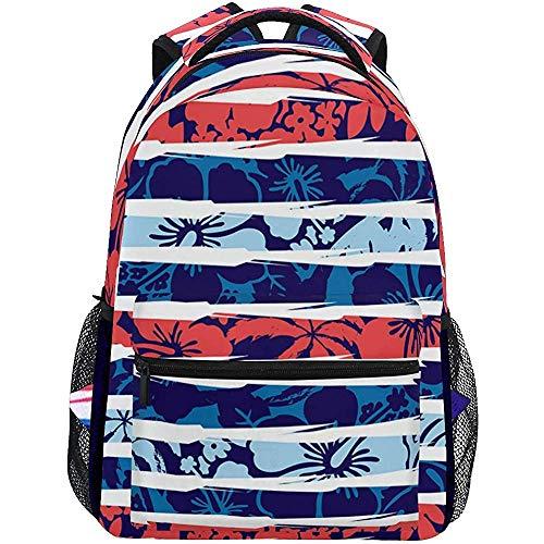 Beating Heart Strand Hibiskus Streifen Illustrator Swatch wiederholen leichte Schulrucksack Studenten College Bag Reisen Wandern Camping Taschen Casual bac