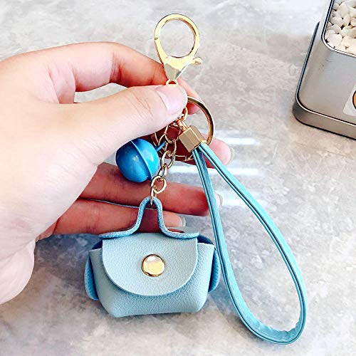 Keychains Charms Fashion Pu Leather Key Chain For Car Keyrings Bag Charm Keychains Pendant Metal Bell Key Ring Holder Women Keychain Light Blue