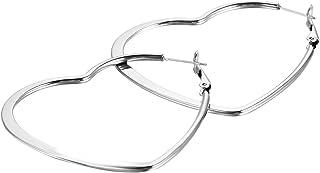JewelryWe 2pcs Women's Stainless Steel Heart Shape Hoop Earrings (with Gift Bag)