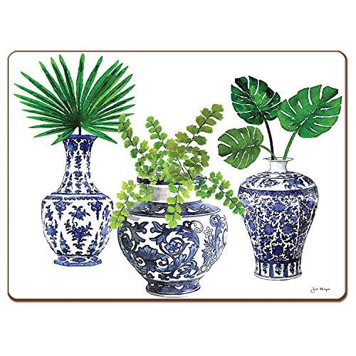 Cala Home Delft Vasen Tischset aus Hartfaserplatte, Blau, 4 Stück