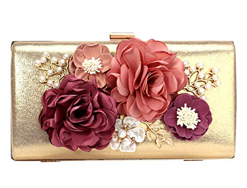 Cartera Mano Mujer Bolso Noche Clutch Diamante Cadena Bolso Ceremonia Boda Fiesta Flor Oro