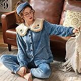 Pijama de Terciopelo Coral para Mujer, más Terciopelo Grueso y cálido Modelos de otoño e Invierno Servicio a Domicilio de Manga Larga
