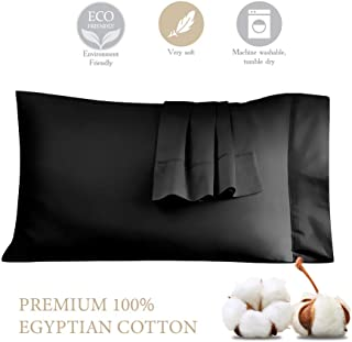 STWIENER 1,000 Thread Count Pillow Cases 100% Egyptian Cotton Silk Feel Satin Weave Pillowcases Set of 2, Luxury Hotel Quality (Black, Standard- 20''×34'')