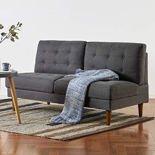 Mellow JULES Modern Armless Loveseat/Sofa/Couch, Dark Grey