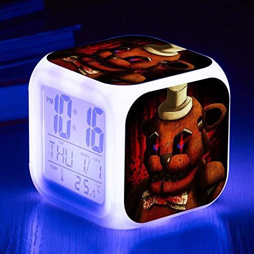 fdgdfgd Número LED Animado con termómetro, Fecha, Color, Despertador, Animal, Oso, Navidad, cumpleaños, Despertador, Regalo