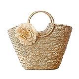 Ruluti Borse di Paglia di Fiori, Borse Summer Beach Bag Bag Pole Weave Bohemian Ladies Grande capacità Tortine di Viaggio Beige