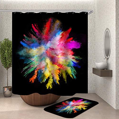 Duschvorhang Anti-Schimmel, Anti-Bakteriell, PEVA Wasserdichter Badvorhang 3D Wirkung mit 12 weiße Haken [Umweltfre&lich] [Waschbar] [180x180cm], Bad Vorhang für Badzimmer - Abstract
