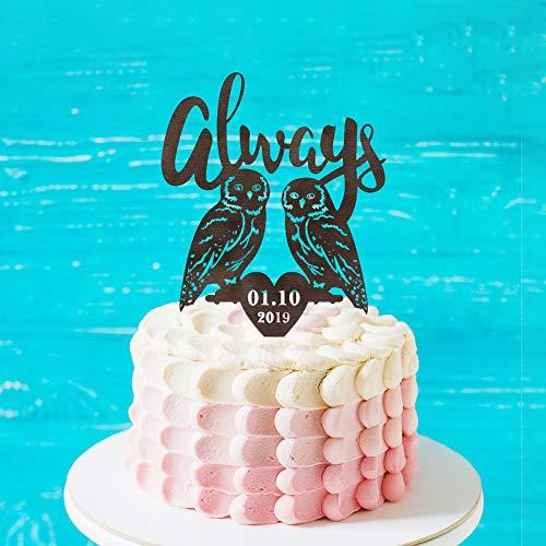 Gepersonaliseerde Uilen Bruiloft Cake Topper, Op maat altijd verjaardag Cake Topper, Bruid en Groom Silhouette Cake Topper,Mr &Mrs Wedding Topper