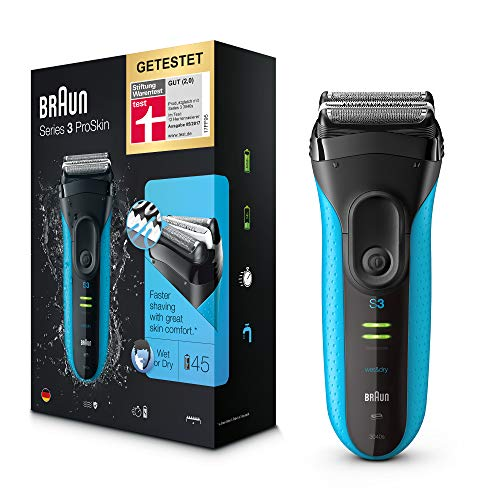 Braun Series 3 ProSkin 3040s Elektrorasierer, mit Präzisionstrimmer, wiederaufladbarer und kabelloser Wet&Dry Rasierer Herren, schwarz/blau