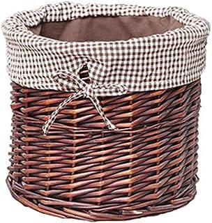 KTYX Boîte De Rangement Paniers Rangement en Rotin, Doublure en Coton Tissé Main Grande Capacité, Légumes Et Fruits, Vêtem...