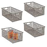 mDesign Set da 4 cesti contenitori – Il cestino portaoggetti versatile per cucina, bagno, garage, guardaroba – Porta oggetti in rete metallica con manici – Molti usi possibili – bronzo