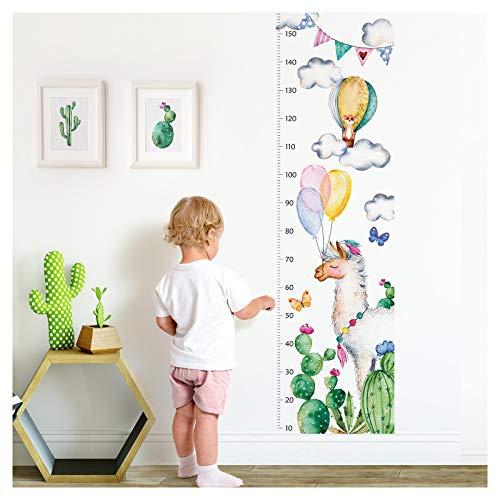 Little Deco muursticker kinderkamer jongen meisjes meetlat | 150 cm Alpacka cactus ballonnen | dieren muurtattoo kinderen muursticker sticker decoratie DL353