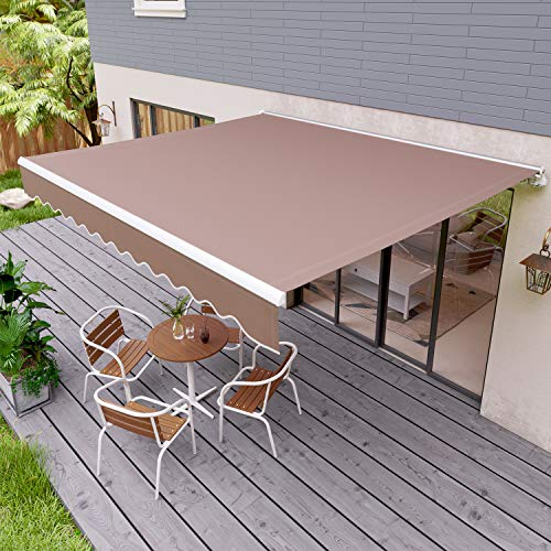 "streakboard 118"" × 98"" Patio Awning, Outdoor Retractable Sunshade Window Door Shelter Canopy, Water UV/Heat Resistant with Crank Handle, for Courtyard, Balcony, Shop, Restaurant, Cafe (11898 inch)"