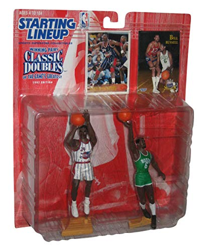 HAKEEM OLAJUWON / HOUSTON ROCKETS & BILL RUSSELL / BOSTON CELTICS 1997 NBA Classic Doubles Kenner Starting Lineup Sports Superstar Collectibles & Exclusive NBA Trading Cards