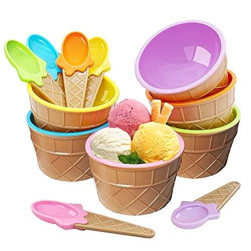 Mlryh Cuenco para Helado con Cucharas 6Pcs Tazas de yogur congelado Plástico duradero Color caramelo Tazón de postre encantador Herramientas para hacer helados