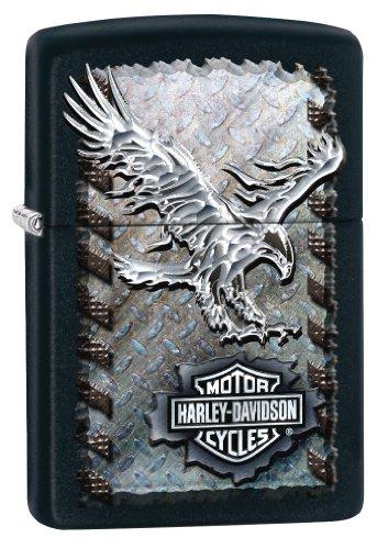 Zippo H-D-Iron Eagle, Accendino Antivento, Ricaricabile a Benzina Unisex Adulto, Nero, Regular 5.7 x 3.7 x 1.2 cm