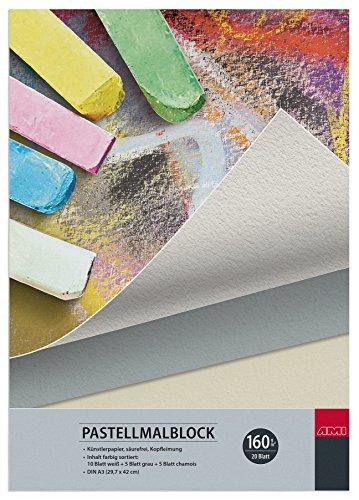 Pastellmalblock Artservice-Tube, Malblock Pastellkreide, DIN A3 Skizzenblock Zeichenblock, 20 Blatt Zeichenpapier Grau Weiß Chamois
