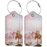 Multi-patterned luggage tag Apartment Decor Collection Romantic Rainy Sunny Day with the Wind in Mountains Solitude is a Bliss Theme Double-sided printing Pink Orange Brown W2.7' x L4.6'