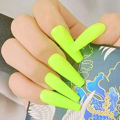 Poliphili 20Pcs Glossy Pure Color Super Long Press on Removable Wear Fake Nails Ballerina Coffin Extra Long Art Manicure Full Cover Acrylic False Nails Tips for Girls and Women (Neon Yellow)