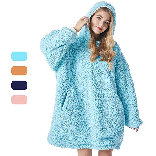 Felicigeely Wearable Fleecehug Hoodie Blanket Oversized Blanket SweatshirtSoft Warm Reversible Hooded Sweatshirt Thick Plush Giant Pullover Fleece Sweater for Adults Men Women Teens Friends