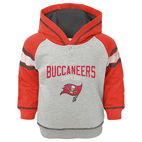 NFL Infant Classic Stripe French Terry Pullover Hoodie-Heather Grey-18 Months, Tampa Bay Buccaneers