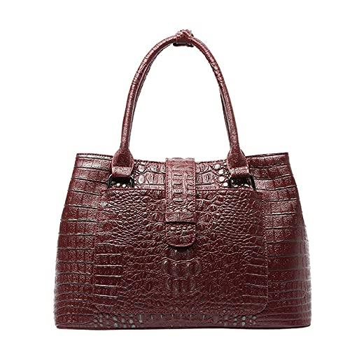 MIMITU Patrón de cocodrilo Bolso de mano informal para mujer Bolso de oficina de cuero genuino de moda para dama con hombro cruzado, rojo vino