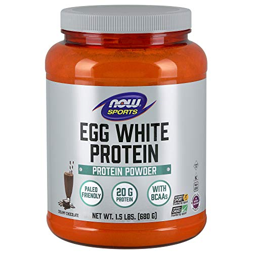 NOW Sports Nutrition, Egg White Protein, 20 G With BCAAs, Creamy Chocolate Powder, 1.5-Pound