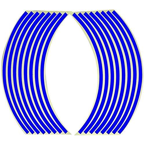 16 PCS Pegatina de rueda de automóviles para motocicletas para 16-18 pulgadas Rueda de rueda llanta Neumático Pegatinas reflectantes (Color : Blue)