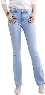 MUSIANE Women's Flare Jeans, Hight Waist Bell Bottom Jean Slim Jean Ripped Fitted Denim Jeans-Light Blue
