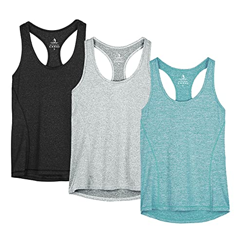 icyzone Workout Tank Tops for Women - Racerback Athletic Yoga Tops, Running Exercise Gym Shirts(Pack of 3)(M, Black/Granite/Green)