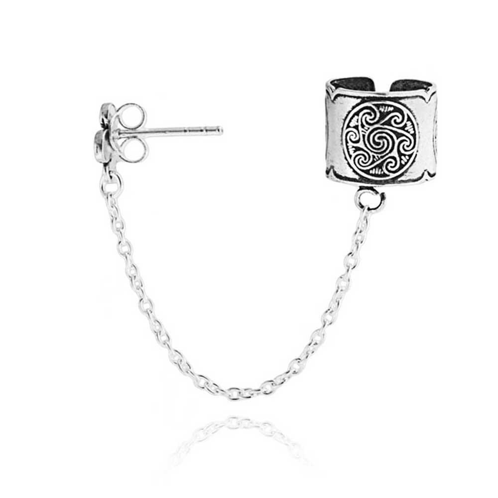 Tribal Celtic Bali Wrap Cartilage Ear Cuff Chain Pierced Ear Stud Earring For Women For Men Oxidized 925 Sterling Silver
