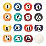 16 piezas de bolas de resina respetuosas con el medio ambiente, juguetes de billar para niños profesionales para principiantes, jugadores de billar profesionales, accesorios de mesa de billar, 2,5 cm