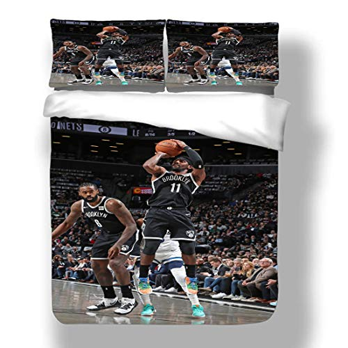 Duvet Cover Set Kyrie Brooklyn Basketball Player 11 Bedding Uncle Drew Irving Nets Super Star Carrying The Ball Give And Go Quilt Coverlet with 2 Pillow Shams Boston Cleveland CelticsCavaliers